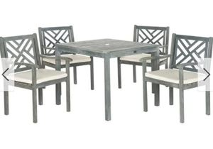 Safavieh Outdoor Living Bradbury Ash Grey Wooden 5pc Patio Set