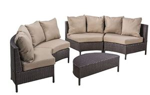 Christopher Knight Home Newton Outdoor 6-Seater Wicker Lounge Set, 5-Pcs Set, Dark Brown