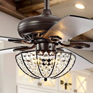 "Joanna 52"" 3-Light Bronze Crystal LED Ceiling Fan With Remote, Oil Rubbed Bronze by JONATHAN Y"