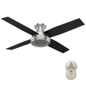 "Hunter 52"" Dempsey Brushed Nickel Ceiling Fan with Remote"