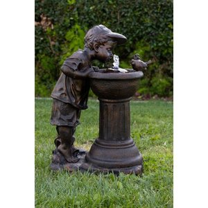 Alpine Boy Drinking Water Out of Fountain w/ LED Light, Gold Finish, 27 Inch Tall Retail: $279.99