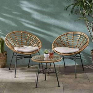 Pigment Outdoor Modern Boho 2 Seater Wicker Chat Set with Side Table by Christopher Knight Home Retail: $281.99