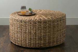 East At Main Langdon Brown Round Abaca Coffee Table Retail: $326.00