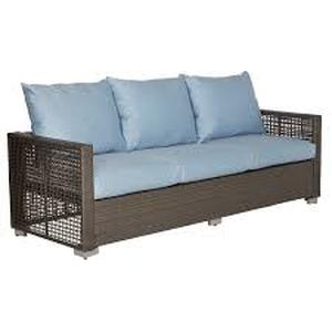 Handy Living Aldrich Indoor/Outdoor Brown Resin Rattan Sectional with Teal Blue Cushions- Retail:$777.49