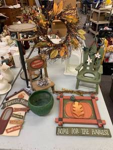 Plant Stand & Fall Decor Lot - Half is NEW!