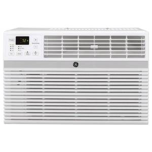 GE 18,000/17,600 BTU 230/208-Volt Smart Window Air Conditioner with Remote in Gray