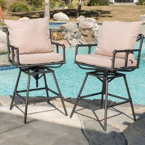 Northrup Outdoor Adjustable Pipe Barstool by Christopher Knight Home