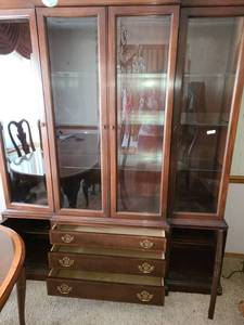 HICKORY MASTERPIECE HUTCH. 86 x 68 x 18. Has 3 drawers and 2 side storage cabinets
