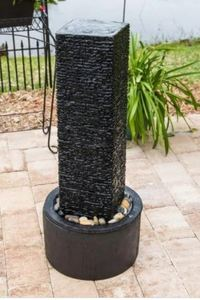 Stormy 37-Inch Outdoor Floor Fountain - Black - Retail:$212.99