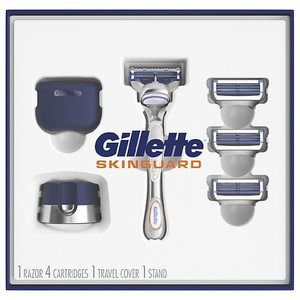 Gillette SkinGuard Men's Razor Holiday Gift Pack including 1 Razor, 4 Blades, 1 Cap and 1 Stand