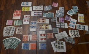 Lot of Over 80 Stamps and Stamp Plate Blocks | Some Stamps are Cancelled