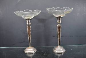 "Lot of 2 Vintage RWM Sterling Silver with Weighted Cement Steel #18 Dish | Total Weight of Bases (Glass Removed) - 15 oz | 9 1/2"" Tall"