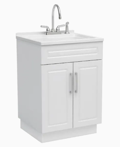 Style Selections 22-in x 24.4-in 1-Basin White Freestanding Laundry Sink with/and Faucet