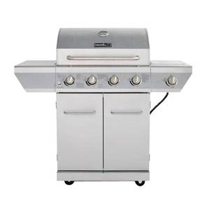 Nexgrill 4-Burner Propane Gas Grill in Stainless Steel with Side Burner and Stainless Steel Doors, Silver