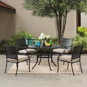 Sunjoy 5 piece Black Lattice Dining Set with Beige Seat Cushions Retail:$636.49