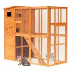 Pawhut Large Wooden Outdoor Cat Enclosure Cage with Ramp and Main House 2 boxes