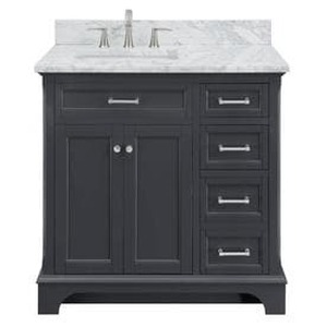 Scott Living Roveland Dark Gray Single Sink Vanity with Natural Carrara Marble Natural Marble Top (Common: 36-in x 22-in)