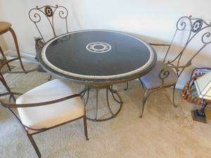 Marble and Wrought Iron Table & Chairs