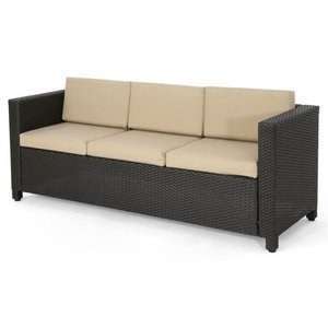 Puerta Outdoor (PE) Wicker 3 Seater Sofa by Christopher Knight Home