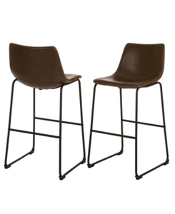 Set of 2 MidCentury Modern Vintage Leatherette Bar Stool Brown - Glitzhome