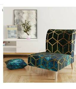 Beautiful Designart 'Yellow Cubes Over Blue Cosmic Background' Upholstered Modern Accent Chair