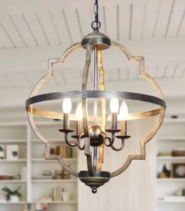 Antique Distressed Wood 4-Light Candle Style Hall Foyer Chandelier Retail:$205.99