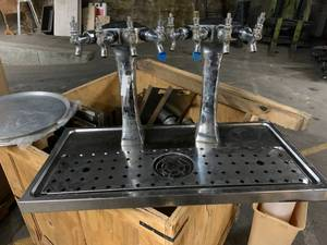 2 Head Ice Frosted glycol cooled tower-8 Taps Beer Dispenser with Glass Washer  Retail $2980