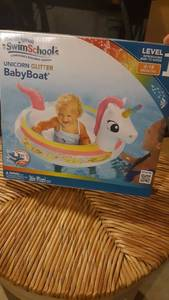 "Swim School Unicorn Glitter 36""d Inflatable Baby Boat Pool Float"