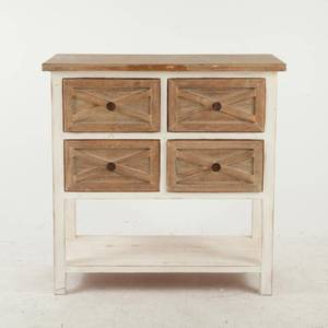 Luxen Home Rustic Antique White 4 Drawer Console Cabinet