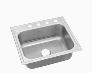 Elkay 25-in x 22-in Satin Single Bowl Drop-In 4-Hole Residential Kitchen Sink