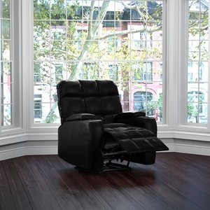 ProLounger Power Wall Hugger Storage Recliner Chair-Black Renu Leather- Retail:$531.99