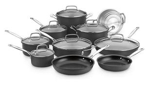 Cuisinart Chef's Classic Nonstick Hard Anodized 17-Piece Cookware Set, Black- Retail:$261.49