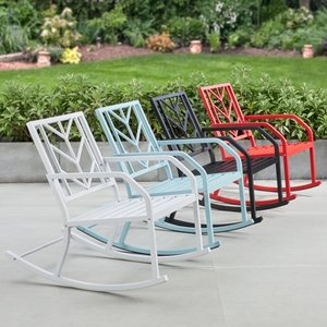 Mainstays Evry Bell Outdoor Metal Rocking Chair, White