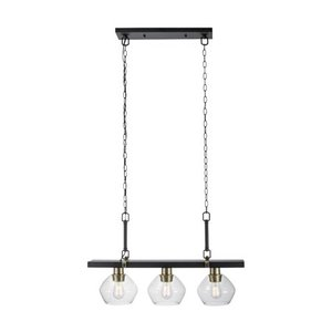 Globe Electric Harrow 3-Light Matte Black Linear Pendant Lighting with Gold Accent Sockets and Clear Glass Shades, 60873