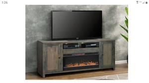 Carbon Loft Rustic TV Stand w/ Electric Fireplace- Retail:$1491.49