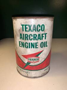 Vintage 32 Ounce Can of Texaco Aircraft Engine Oil 2A