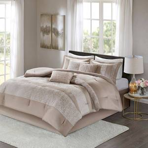 Madison Park Elicia Taupe 7 Piece Chenille Jacquard Comforter Set