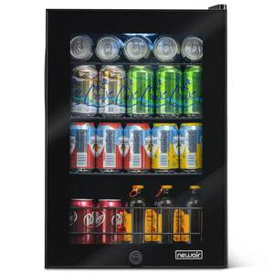 NewAir 90 Can Freestanding Beverage Fridge in Onyx Black, Compact with Adjustable Shelves and Lock - Black