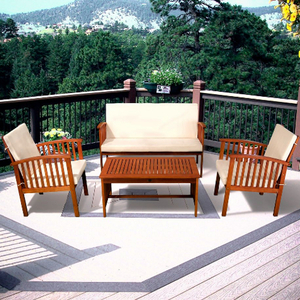 Carolina 4-piece Outdoor Acacia Sofa Set Brown Patina+Cream Cushion by Christopher Knight Home Retail:$534.49
