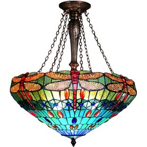 "Chloe Lighting Scarlet Tiffany-Style 3-Light Dragonfly Inverted Ceiling Pendant with 24"" Shade"