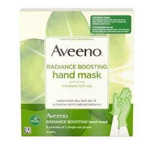 Aveeno Radiance Boosting Hand Mask with Soy, 6 Pairs of Gloves
