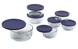 FFP Pyrex 14 PC Simply Str St W/Blue Covers