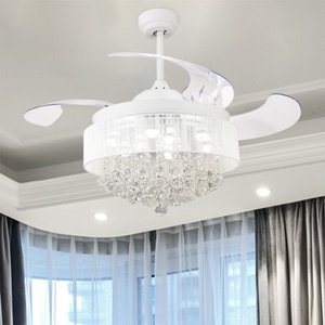 46-inch Foldable 4 Blades LED Ceiling Fan Crystal Chandelier- Retail:$249.99