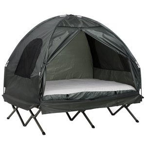 Green Outsunny 2 Person Compact Pop Up Portable Folding Outdoor Elevated Camping Cot Tent Combo Set with Simple Setup & Carry Bag- Retail:$186.99