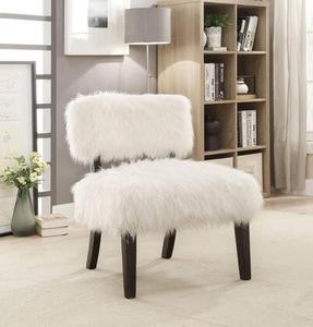 "Mystic Sovereign Collection CM-AC6548 19"" Accent Chair with Fur-like Upholstery Tapered Legs"
