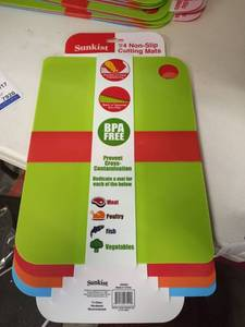 Cutting Mats Non Slip Set Of 4 Multi Color, Sunkist 13.5 X 10 Meat Fish Veggies