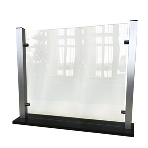 "Waddell Counter-Top Protective Plastic Shield With Aluminum Frame And Flat Base, 25""H x 35""W x 6""D, Clear"
