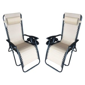 Zero Gravity Recliner / Lounger & Cup Holder in Cream Mesh Fabric 2Pk.- Retail:$135.99