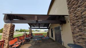 Outdoor Wood Awning With Heaters