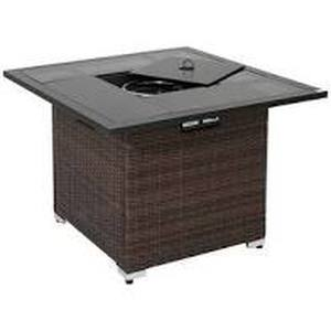 COSIEST Outdoor Square Espresso Brown Wicker Fire Pit, Stainless Steel Burner